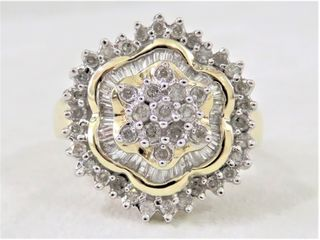 10k Yellow Gold 1.07ct Diamond Daisy Style Ring with Valuation
