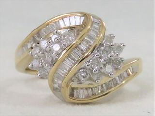 10k Yellow Gold 1.01ct Diamond Cluster Ring with Valuation