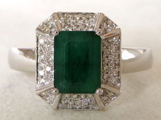 18k White Gold Emerald & Diamond Ring with Valuation