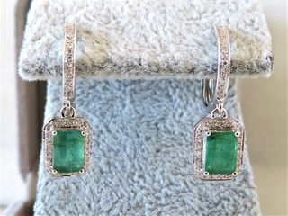 18k White Gold Emerald & Diamond Earrings with Valuation