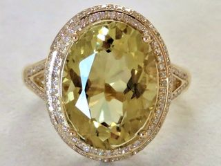 18k Yellow Gold 6.91ct Lemon Quartz & 0.54ct Diamond Ring with Valuation