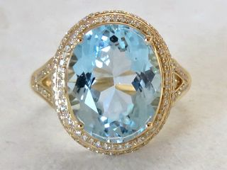 18k Yellow Gold 7.55ct Blue Topaz & 0.53ct Diamond Ring with Valuation