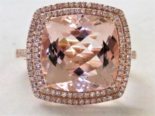 18k Rose Gold 7.7ct Morganite & 0.51ct Diamond Ring with Valuation