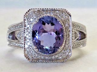 18k White Gold 2.93ct Tanzanite & 0.4ct Diamond Ring with Valuation