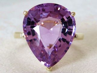 9k Yellow Gold 10.05ct Natural Amethyst & Diamond Ring
