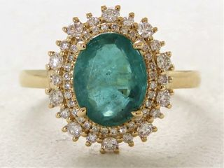 18k Yellow Gold 2.03ct Emerald & 0.5ct Diamond Ring with Valuation