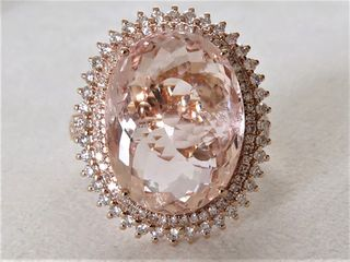 18k Rose Gold 9.37ct Morganite & 0.7ct Diamond Ring with Valuation