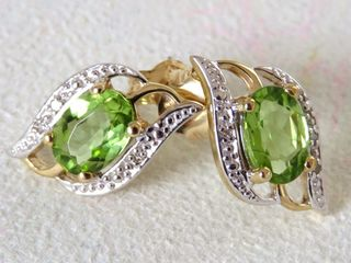 9k Yellow Gold Peridot & Diamond Earrings
