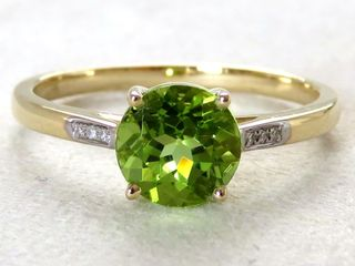 9k Yellow Gold 1.62ct Natural Peridot & Diamond Ring