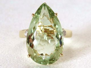 9k Yellow Gold 12.86ct Green Amethyst & Diamond Ring