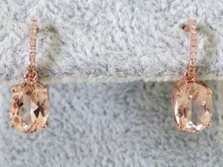 9k Rose Gold 2.49ct Morganite & Diamond Earrings