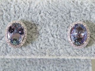 9k White Gold 2.12ct Tanzanite & Diamond Earrings