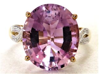 9k Yellow Gold 9.05ct Amethyst & Diamond Ring