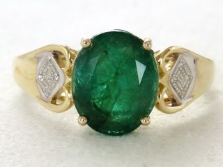 9k Yellow Gold 2.7ct Emerald & Diamond Ring