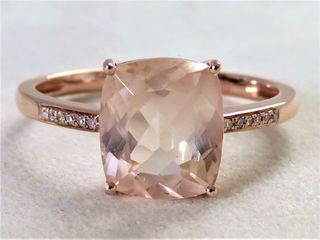 9k Rose Gold 2.68ct Morganite & Diamond Ring