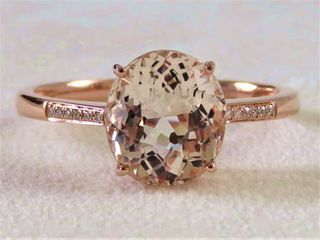 9k Rose Gold 2.87ct Morganite & Diamond Ring
