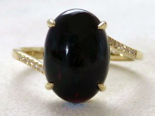 9k Yellow Gold 4.39ct Black Fire Opal & Diamond Ring