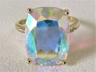 9k Yellow Gold 10.95ct Rainbow Mystic Topaz & Diamond Ring