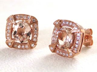 9k Rose Gold Morganite & 44pcs Diamond Earrings