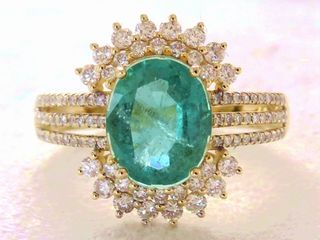 14k Yellow Gold 2.3ct Emerald & 0.64ct Diamond Ring with Valuation