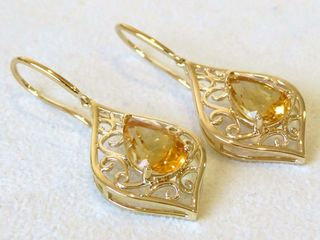 9k Yellow Gold 3.22ct Citrine Earrings