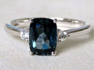9k White Gold 2.21ct London Blue Topaz & White Sapphire Ring