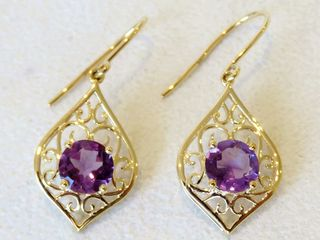 9k Yellow Gold 1.29ct Amethyst Earrings