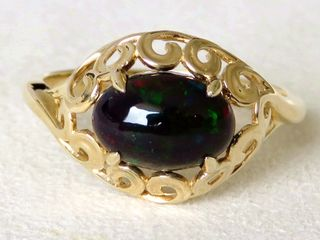 9k Yellow Gold 1.34ct Black Fire Opal Ring