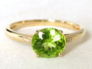 9k Yellow Gold Peridot & Diamond Ring
