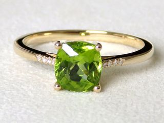 9k Yellow Gold 1.67ct Peridot & Diamond Ring