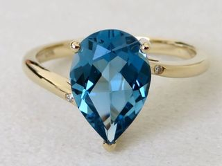 9k Yellow Gold 3.14ct London Blue Topaz & Diamond Ring