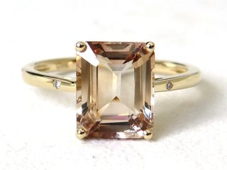 9k Yellow Gold 3.76ct Champagne Imperial Topaz & Diamond Ring
