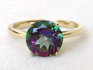 9k Yellow Gold 3ct Mystic Topaz Ring