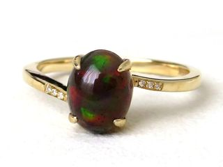 9k Yellow Gold 1.14ct Black Fire Opal & Diamond Ring
