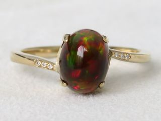 9k Yellow Gold Black Fire Opal & Diamond Ring