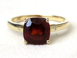9k Yellow Gold 2.99ct Garnet & Diamond Ring
