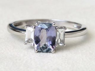 9k White Gold 1.04ct Tanzanite & White Topaz Ring