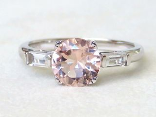 9k White Gold 1.31ct Morganite & White Topaz Ring