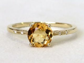 9k Yellow Gold 1.12ct Citrine & Moissanite Ring