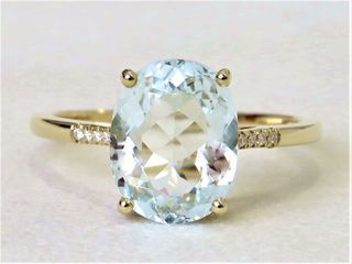 9k Yellow Gold 2.9ct Aquamarine & Moissanite Ring