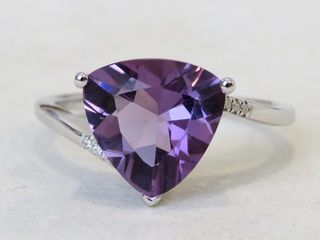 9k White Gold 2.73ct Amethyst & Moissanite Ring