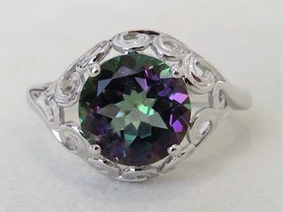 9k White Gold 3ct Mystic Topaz Ring