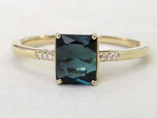 9k Yellow Gold 1.23ct Tourmaline & Moissanite Ring