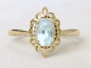 9k Yellow Gold Aquamarine Ring