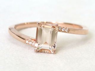 9k Rose Gold 1ct Morganite & Moissanite Ring