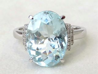 14k White Gold 6.03ct Aquamarine & 0.2ct Diamond Ring with Valuation $3200