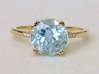 9k Yellow Gold 3.9ct Aqua Blue Topaz & Moissanite Ring