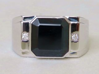 14k White Gold 7.7ct Dark Blue Sapphire & Diamond Men's Ring with Valuation