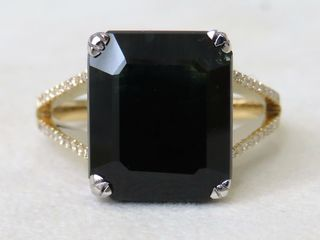 14k Yellow Gold 10.6ct Dark Blue Sapphire & 0.24ct Diamond Ring with Valuation