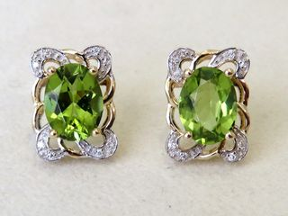 9k Yellow Gold 2.67ct Peridot & Moissanite Earrings